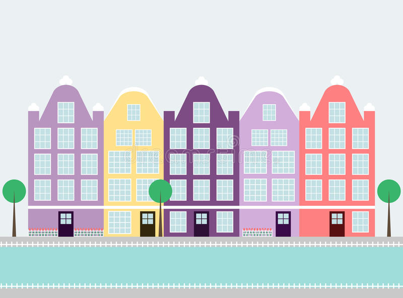 Amsterdam houses on the water stock illustration