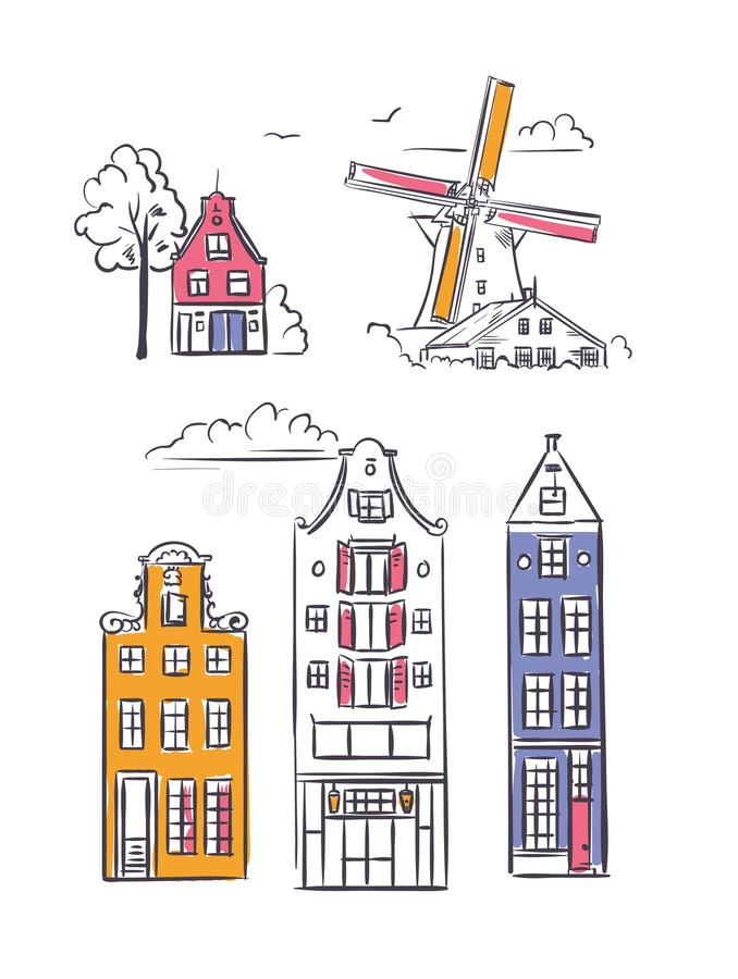 Amsterdam houses and windmill in sketchy style. Traditional old buildings in Netherlands vector illustration