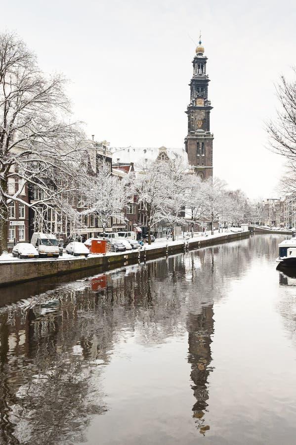 Amsterdam i de-vinter, Amsterdam i vinter royaltyfri fotografi