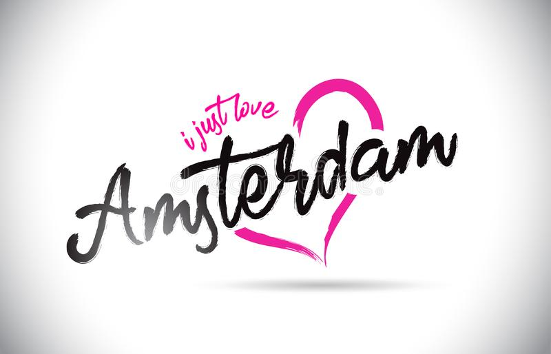 Amsterdam I Just Love Word Text with Handwritten Font and Pink Heart Shape. Vector Illustration vector illustration
