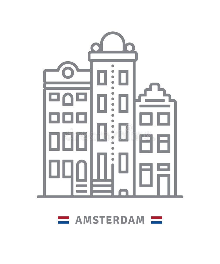 Amsterdam icon with dutch houses and flag. Amsterdam line icon. Dutch houses and flag vector illustration royalty free illustration