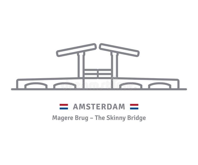 Amsterdam icon with skinny bridge and dutch flag. Amsterdam line icon. Skinny Bridge and flag vector illustration vector illustration