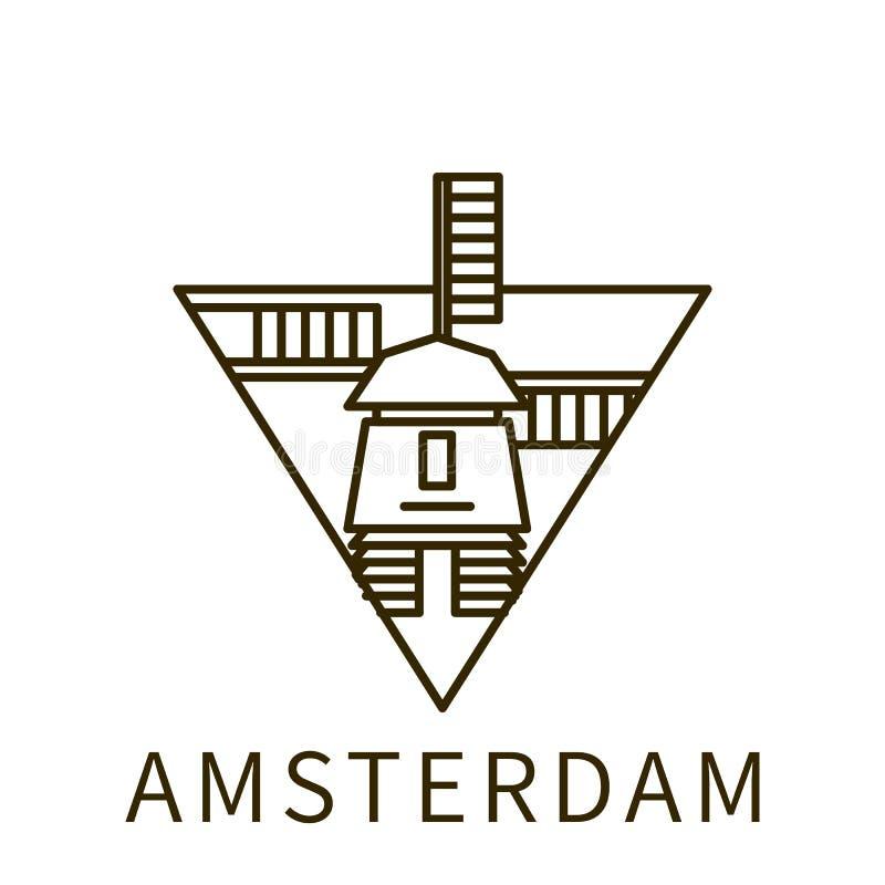 Amsterdam ikona Element miasto w trójbok ikonie ilustracji