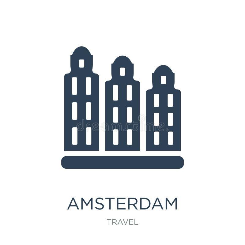 amsterdam ikona w modnym projekta stylu amsterdam ikona odizolowywająca na białym tle amsterdam wektorowej ikony prosty i nowożyt royalty ilustracja