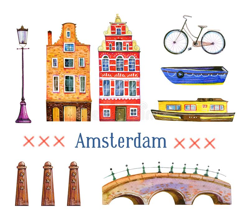 Amsterdam illustration. Watercolor hand drawn set. Houses, bicycle, bridge, boats and architecture details. Isolated on white background royalty free illustration
