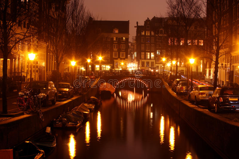 Download Amsterdam Innercity By Night In Netherlands Stock Image - Image: 12172523