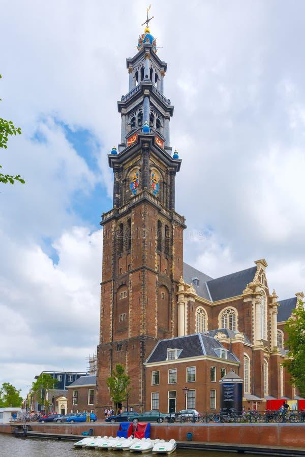 Amsterdam kanał Westerkerk i kościół, holandie obrazy stock