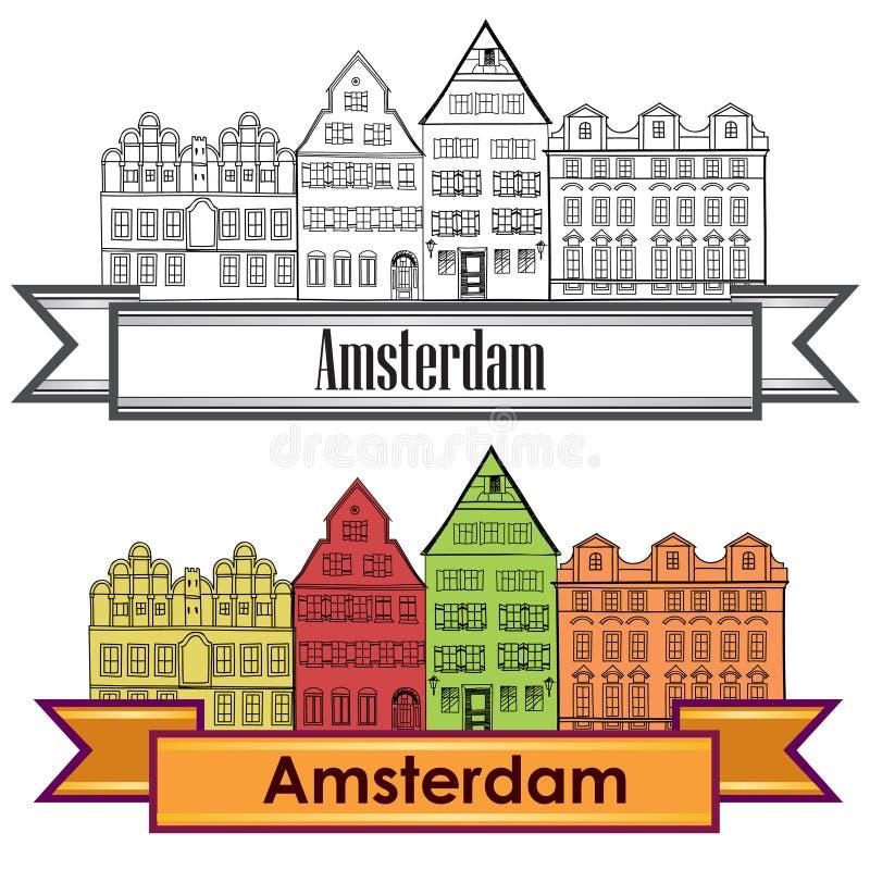 amsterdam kanału domy holandia symbol Podróży Europa ikona ilustracji