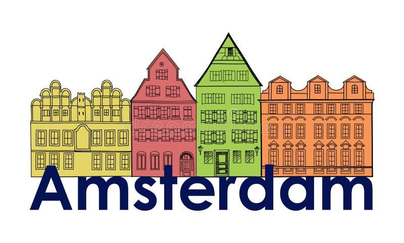 amsterdam kanału domy holandia symbol Podróży Europa ikona ilustracja wektor
