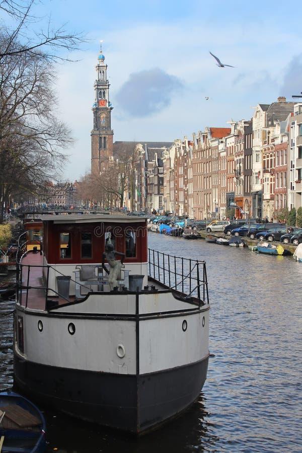 amsterdam kanału houseboats obraz royalty free