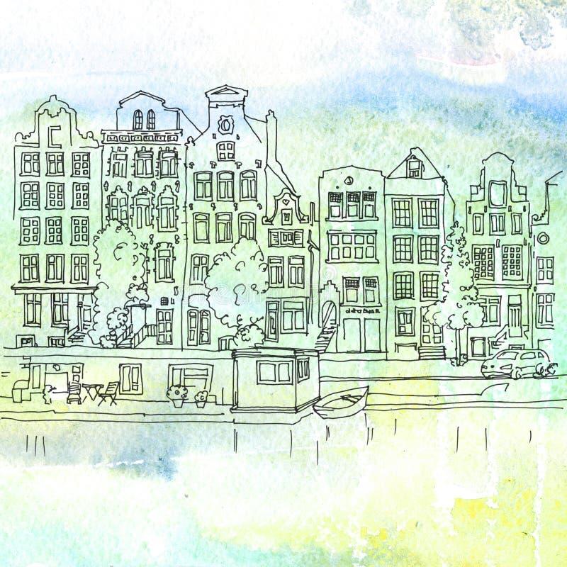 Amsterdam kanały royalty ilustracja