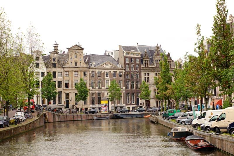 amsterdam kanaler arkivbild