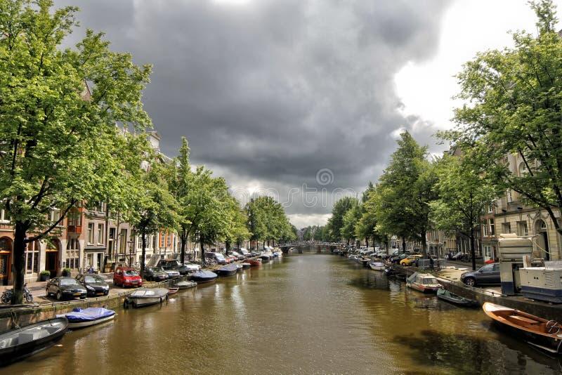 amsterdam kanaler holland royaltyfri fotografi