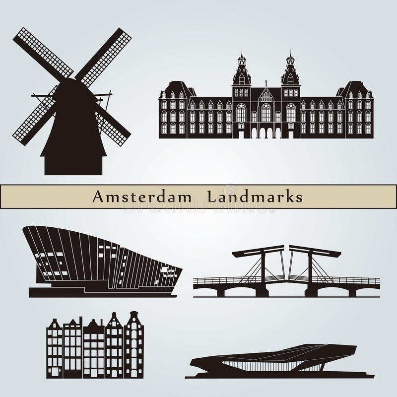Amsterdam landmarks and monuments. On blue background in editable vector file vector illustration