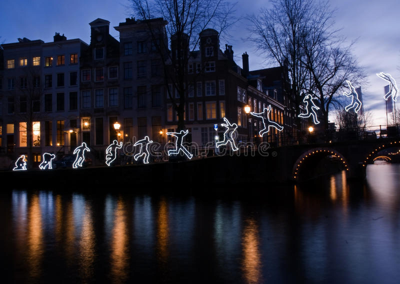 Amsterdam Light Festival 2016-Run Beyond stock photos