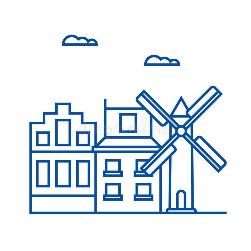 Amsterdam-Linie Ikonenkonzept Flaches Vektorsymbol Amsterdams, Zeichen, Entwurfsillustration vektor abbildung