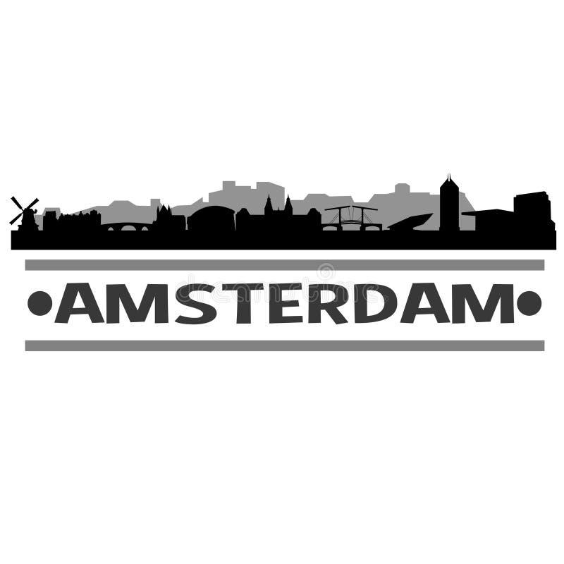 Amsterdam linii horyzontu miasta ikony sztuki Wektorowy projekt ilustracji