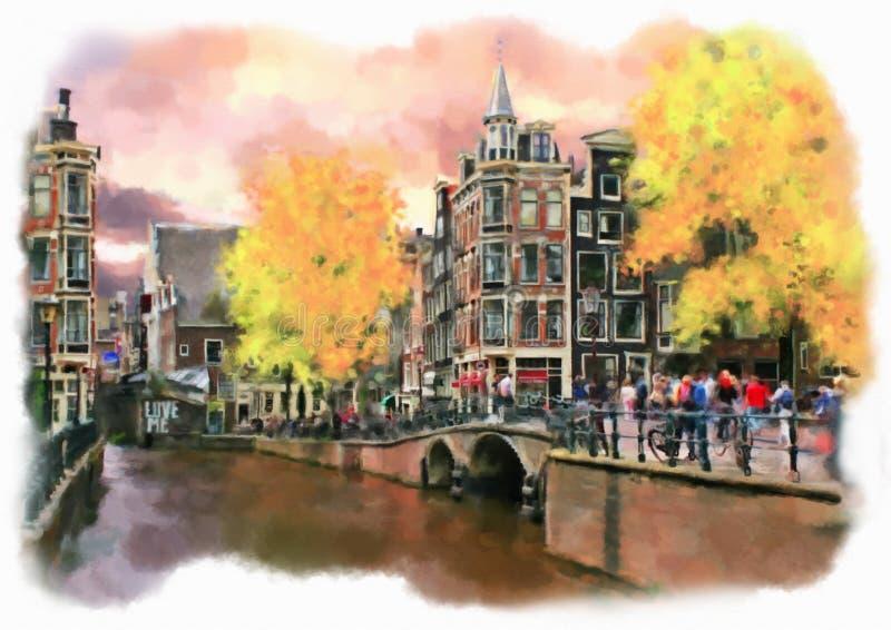 Amsterdam machte in der künstlerischen Aquarellart lizenzfreie abbildung