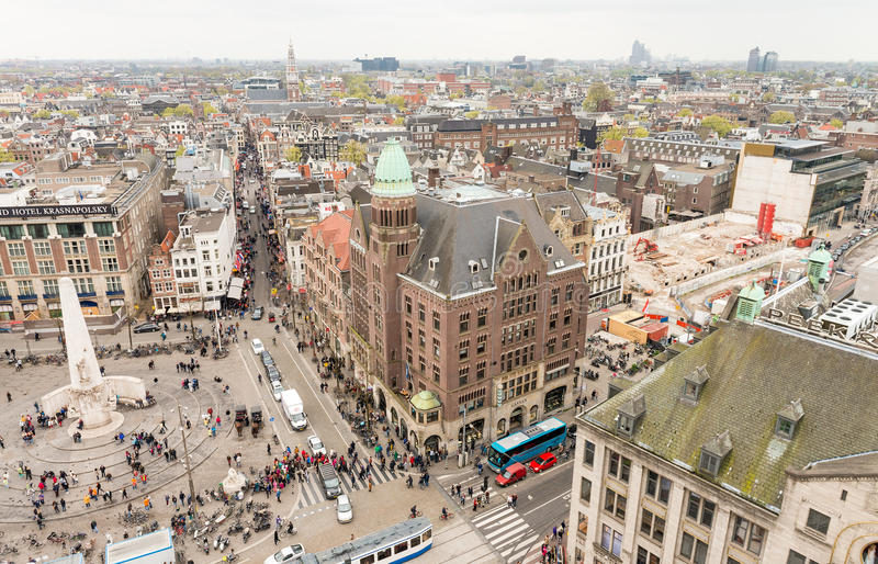 AMSTERDAM - MARCH 30, 2015: City panoramic view from a high vantage point. The city receives 5 million tourists annually royalty free stock images
