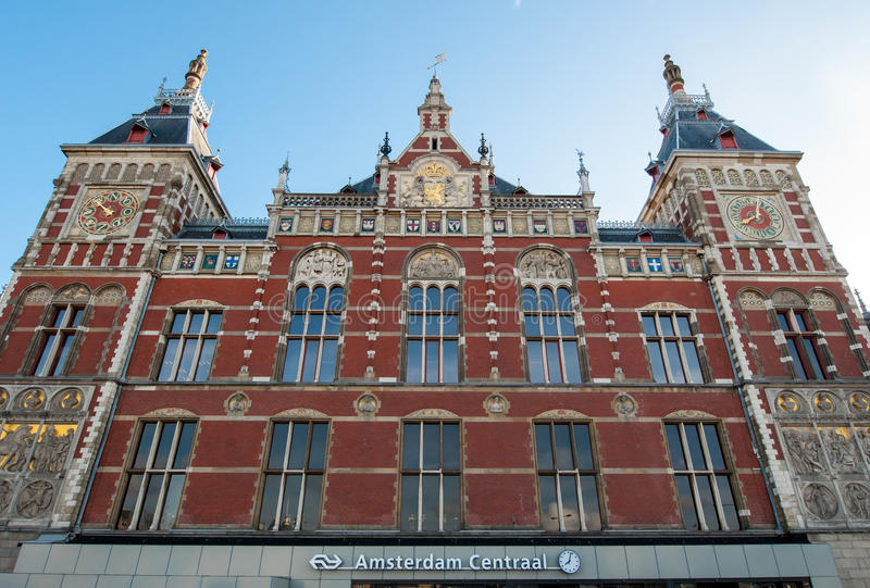 Amsterdam-May 01: Facade of the Amsterdam Centraal Station on May 01,2015 in Amsterdam, Netherlands. Facade of the Amsterdam Centraal Station in Amsterdam stock images