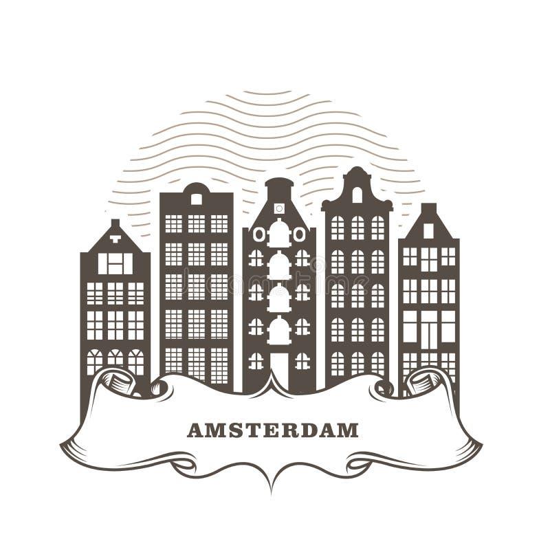Amsterdam miasta linia horyzontu - rodzajowi budynki, pejzaż miejski Amsterdam royalty ilustracja