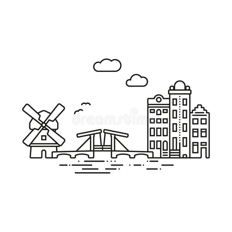 Amsterdam miasta odosobniona wektorowa ilustracja ilustracja wektor