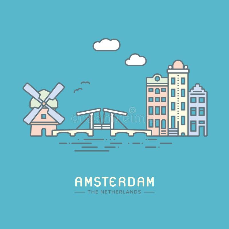 Amsterdam miasta płaska wektorowa ilustracja ilustracja wektor