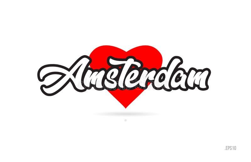 amsterdam miasta projekta typografia z czerwonym kierowym ikona logem ilustracja wektor