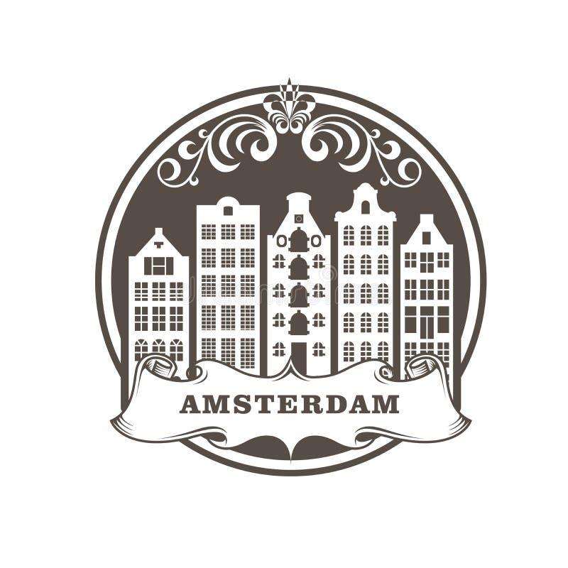 Amsterdam miasta znaczek - rząd rodzajowi budynki, pejzaż miejski Amsterdam royalty ilustracja
