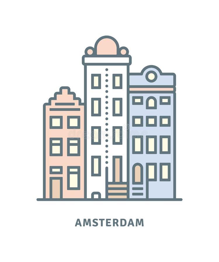 Amsterdam mieści wektorową ilustrację royalty ilustracja