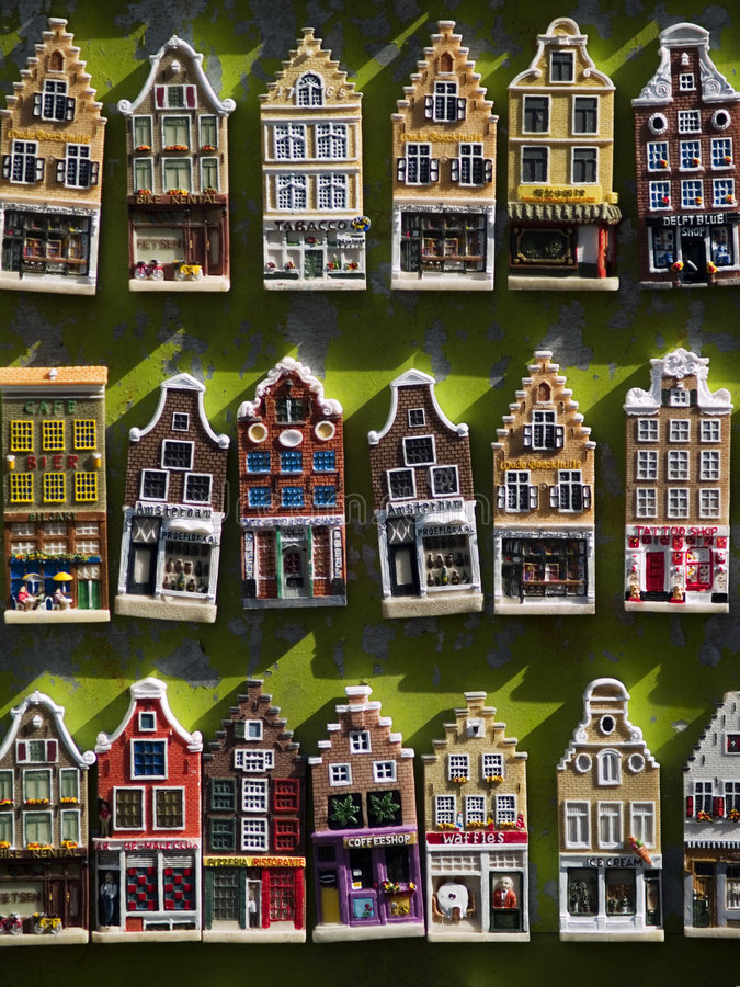 Amsterdam Model Houses. Miniature models of townhouses and shops on display in Amsterdam stock photo