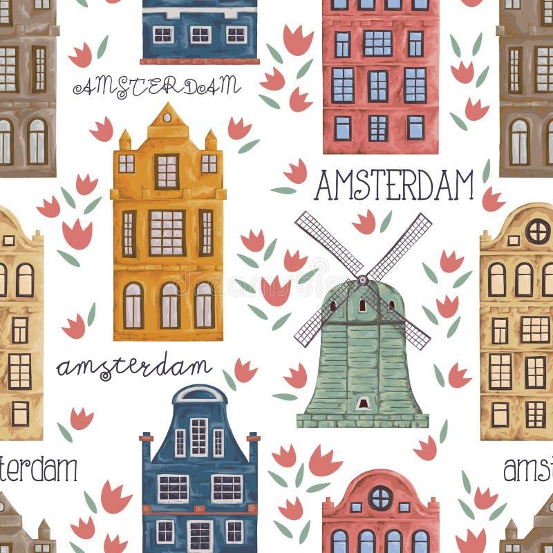 Amsterdam Modelo inconsútil con los edificios históricos viejos y arquitectura tradicional de Países Bajos libre illustration