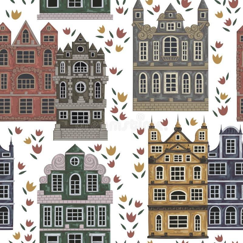 Amsterdam Modelo inconsútil con los edificios históricos y arquitectura tradicional de Países Bajos libre illustration