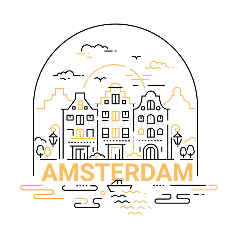 Amsterdam - modern vector line travel illustration. Have a trip, enjoy your vacation. Be on a safe and exciting journey. Landmark image. An unusual composition royalty free illustration