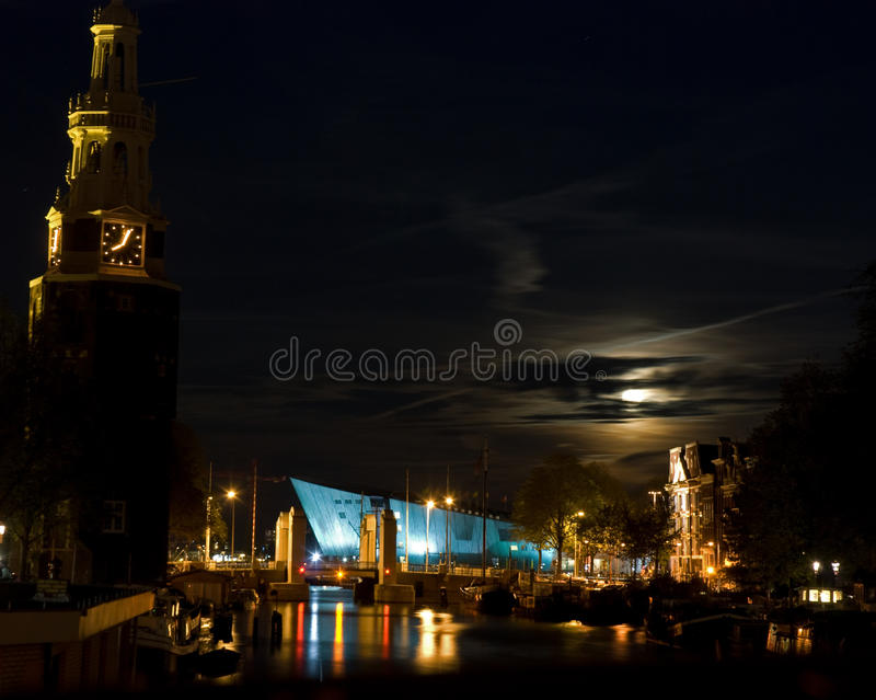 Amsterdam by moonlight royalty free stock image