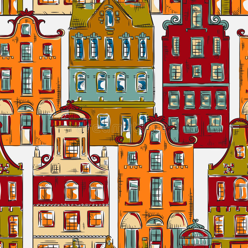 amsterdam Nahtloses Muster mit alter traditioneller Architektur der historischen Gebäude von den Niederlanden vektor abbildung