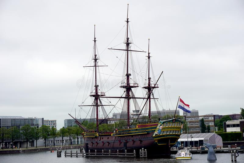 Holland, Amsterdam, the National Maritime Museum Het Scheepvaartmuseum, panoramic photo. Amsterdam, the National Maritime Museum Het Scheepvaartmuseum, panoramic royalty free stock image