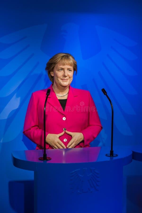 AMSTERDAM NEDERLÄNDERNA - APRIL 25, 2017: Angela Merkel vaxstatu royaltyfri bild