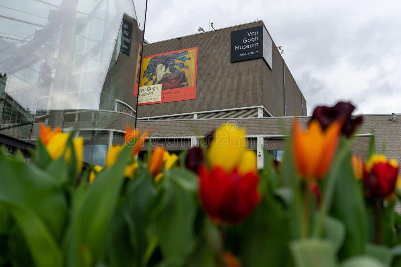 Amsterdam Nederländerna - April 6, 2018: Blommor utanför skåpbilen royaltyfri bild