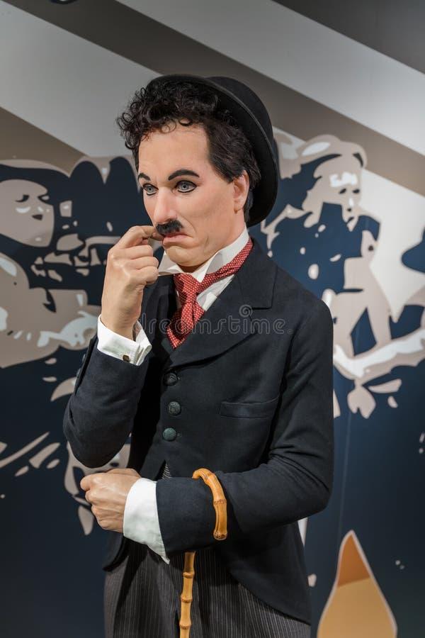 AMSTERDAM NEDERLÄNDERNA - APRIL 25, 2017: Charlie Chaplin vaxsta royaltyfri foto