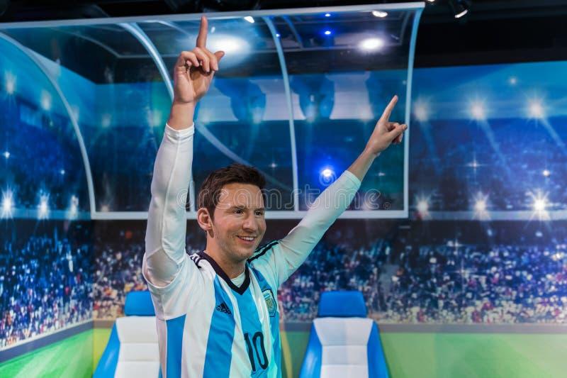 AMSTERDAM NEDERLÄNDERNA - APRIL 25, 2017: Lionel Messi vaxstaty arkivbilder