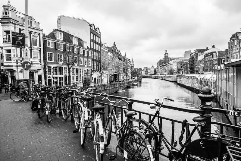 Amsterdam Nederländerna - Februari 26, 2010: Cyklar på gatan nära vattenkanalen Cykeln är mycket populär transport in royaltyfria bilder