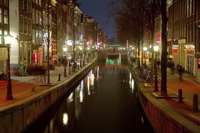 Amsterdam Nederländerna, rött ljusområde arkivbilder