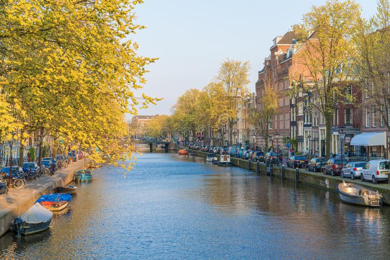 Amsterdam Nederl?nderna - April 09, 2019: Klassiska cyklar och historiska hus i gamla Amsterdam Typisk gata i Amsterdam med royaltyfria bilder