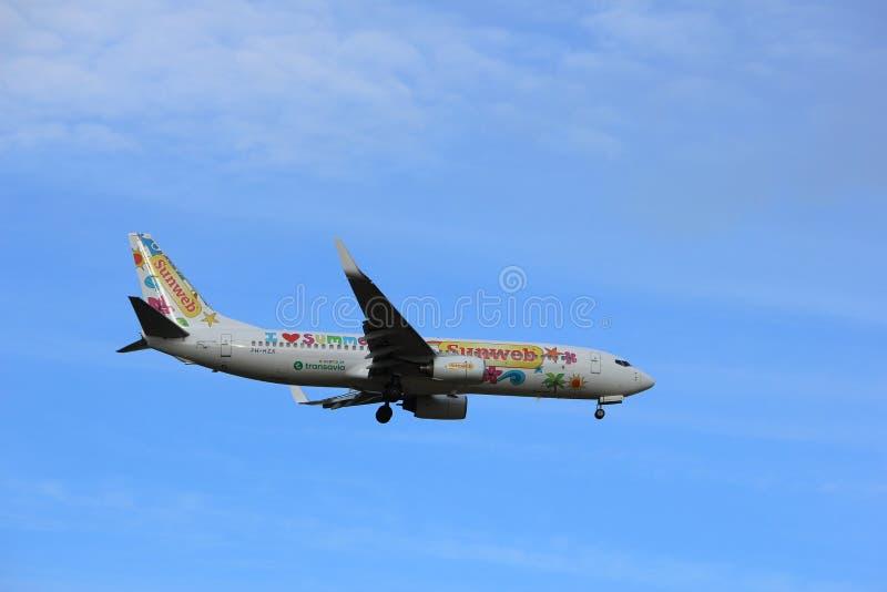 Amsterdam, Nederland, Juli, 15de 2016: Ph-HZX Transavia Sunweb Boeing royalty-vrije stock foto
