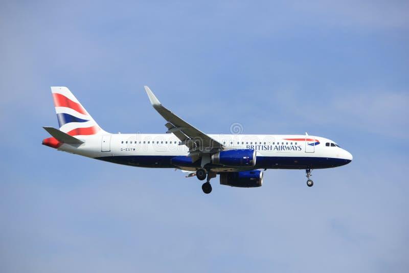 Amsterdam, Nederland, Juli, 21ste 2016: G-EUYW British Airways-Luchtbus A320 royalty-vrije stock afbeeldingen