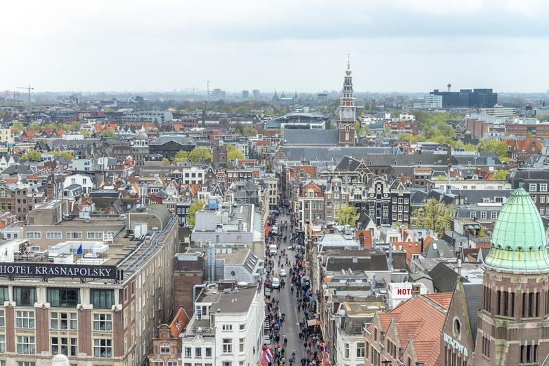 AMSTERDAM, NEDERLAND - MAART 2015: Luchtmening van stadsbui stock foto's