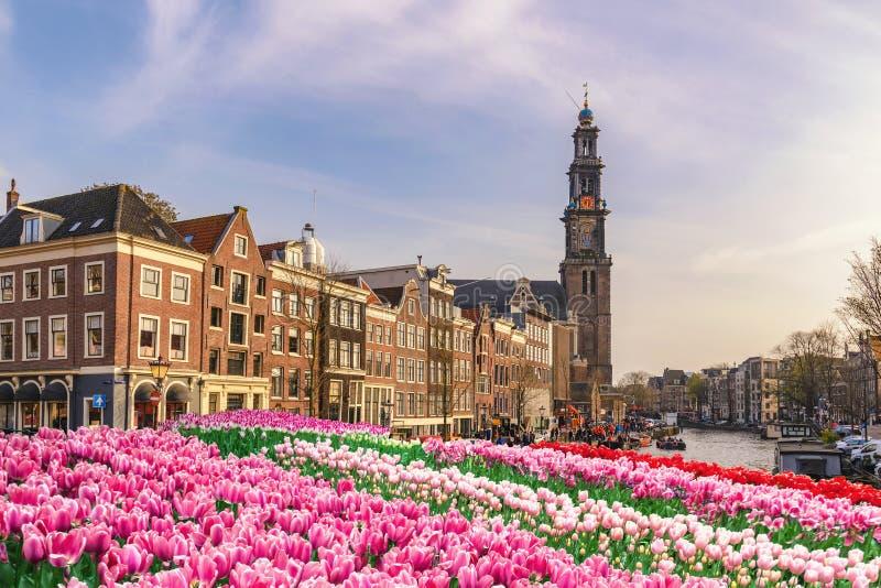 Amsterdam Nederland, stadshorizon bij kanaal royalty-vrije stock afbeelding