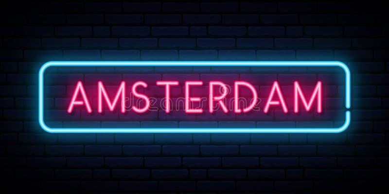 Amsterdam neon sign. Bright light signboard. Vector banner stock illustration
