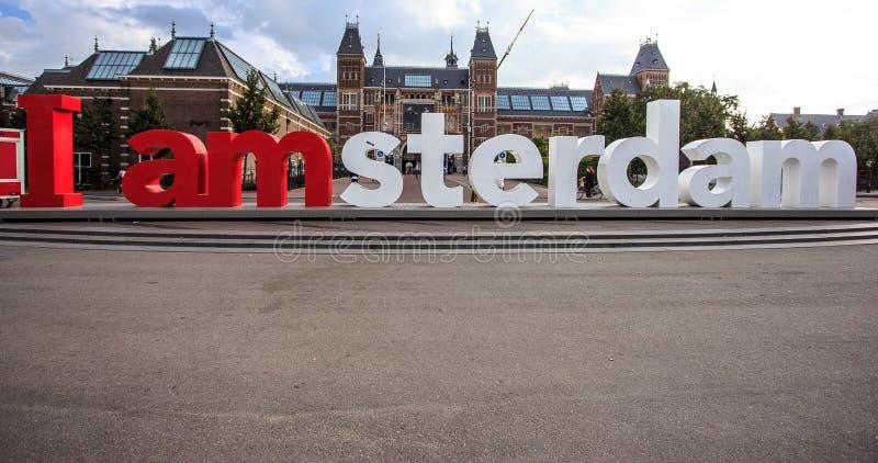 Amsterdam, Netherland, el Rijksmuseum con el ` del ` I Amsterdam de las palabras foto de archivo libre de regalías